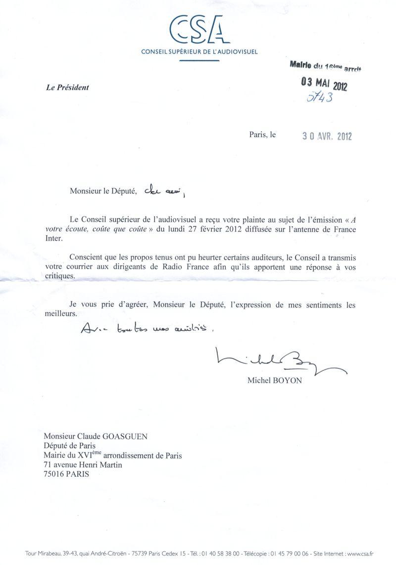 Lettre de réponse du CSA sur France Inter